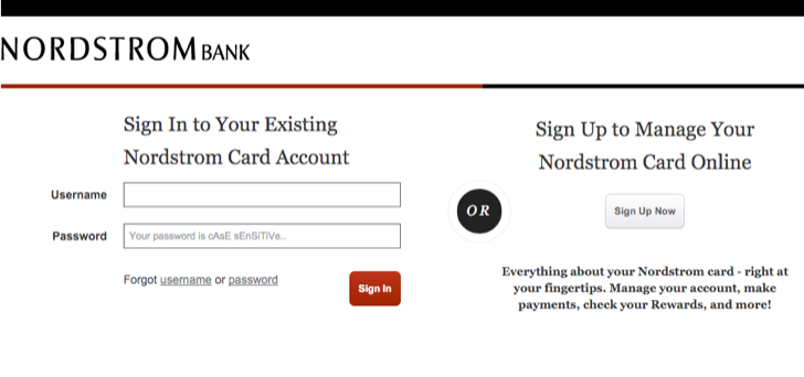 sign up for Nordstrom online account access