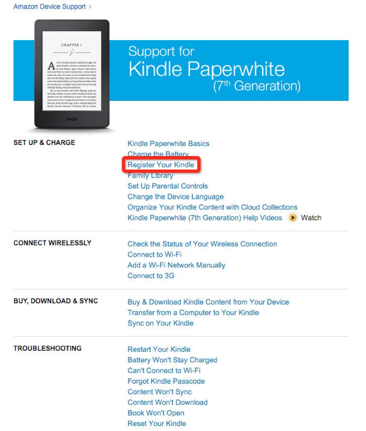 register for an Amazon account to manage your kindle