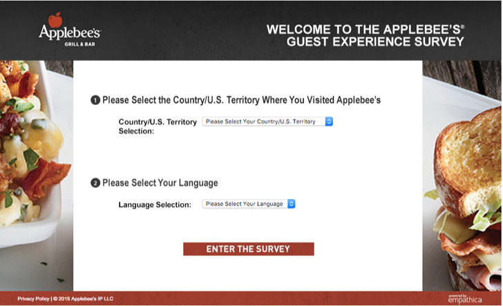 participate in the Applebee's guest experience survey for a chance to win $1,000