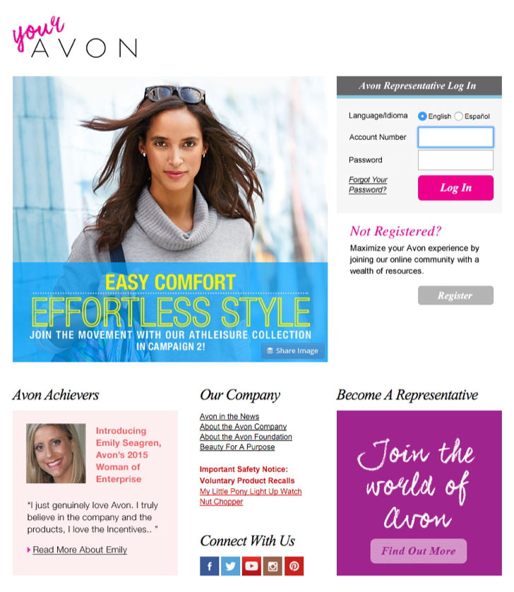 register for an online account as an Avon representative