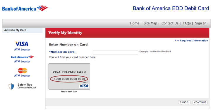 activate your EDD debit card from bank of america