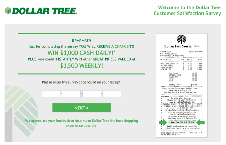 dollar tree customer satisfaction survey