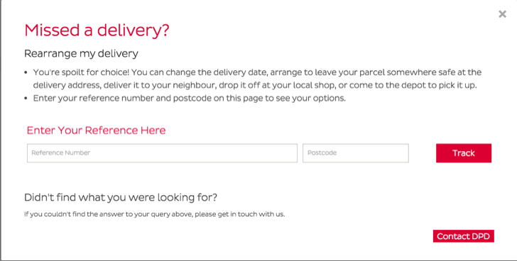arrange a redelivery for a DPD uk parcel