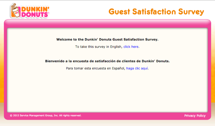 take part in the tell Dunkin' Donuts survey