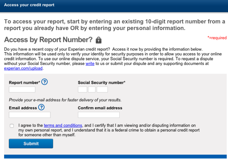 experian online personal credit report
