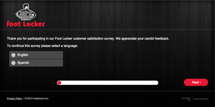 participate in the foot locker customer survey to get 10% off