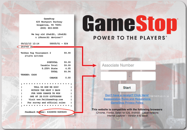 take part in the Gamestop customer experience survey