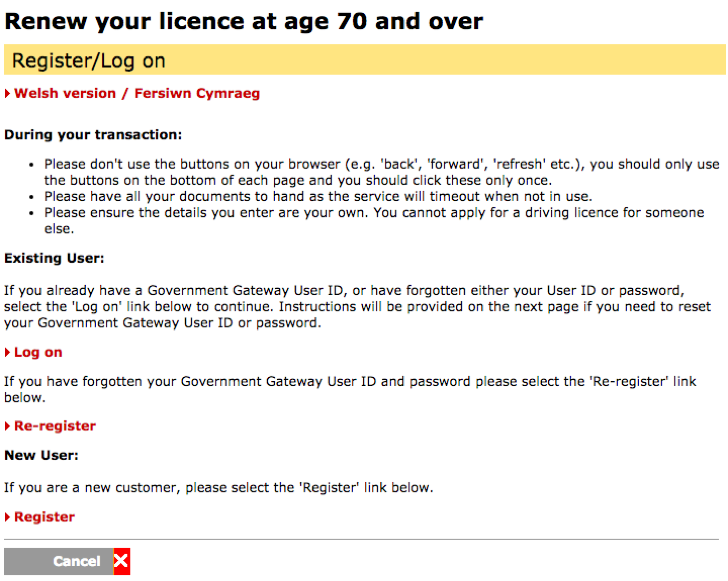 renew driving license at age 70 or over for free