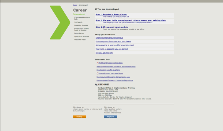 file for unemployment benefits online at the Kentucky office of employment and training