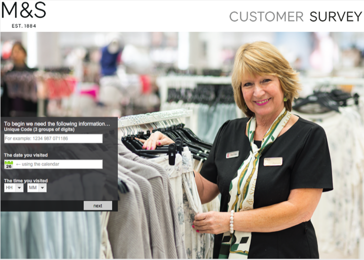 take part in the M & S customer survey