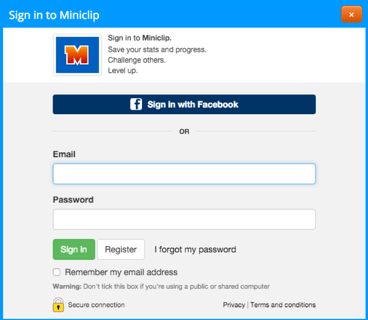 sign up for a free Miniclip account