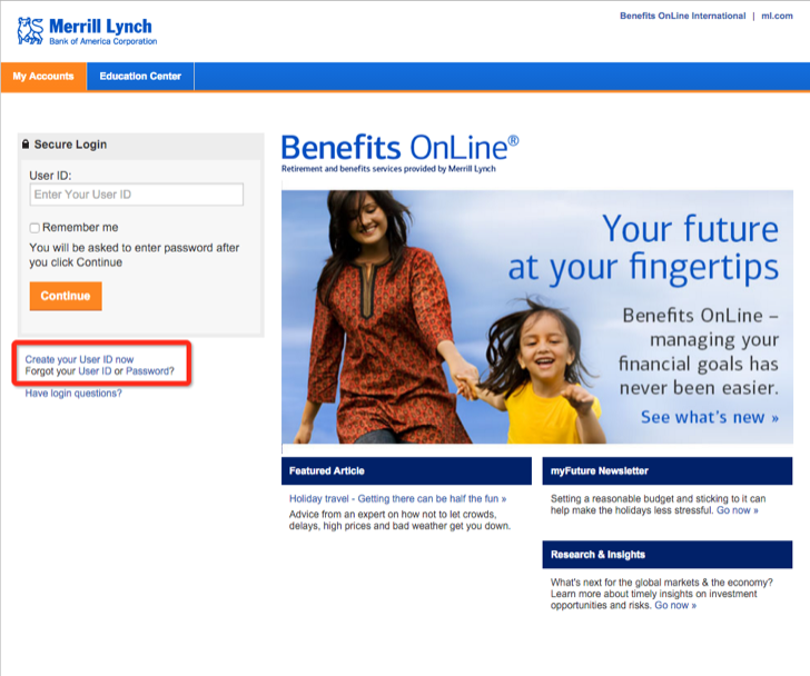 create a user id at merrill lynch benefits information center