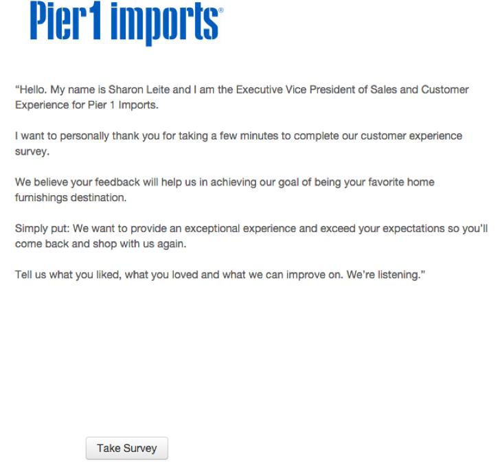 pier 1 imports customer experience survey