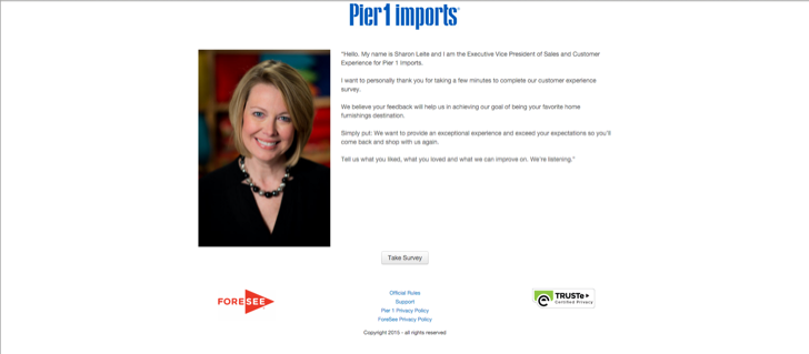 take part in the Pier 1 Imports customer satisfaction surve