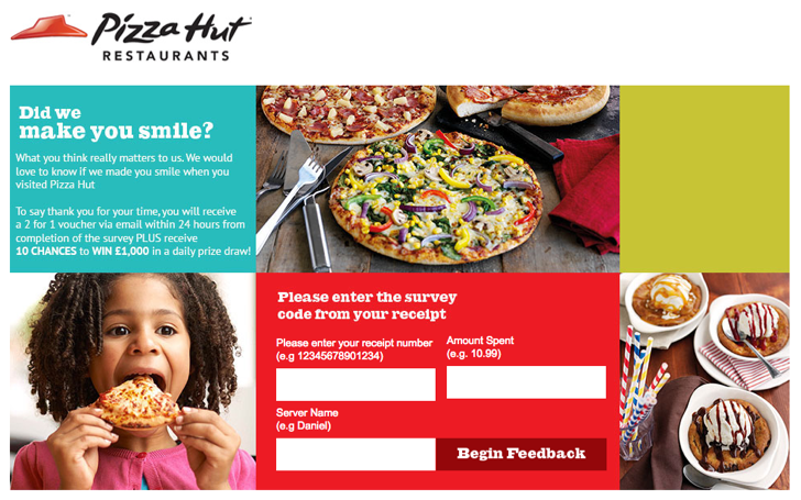 pizza hut uk customer experience survey