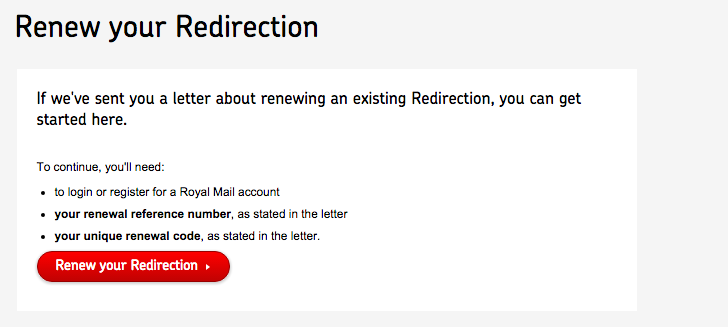 royal mail redirection renewal