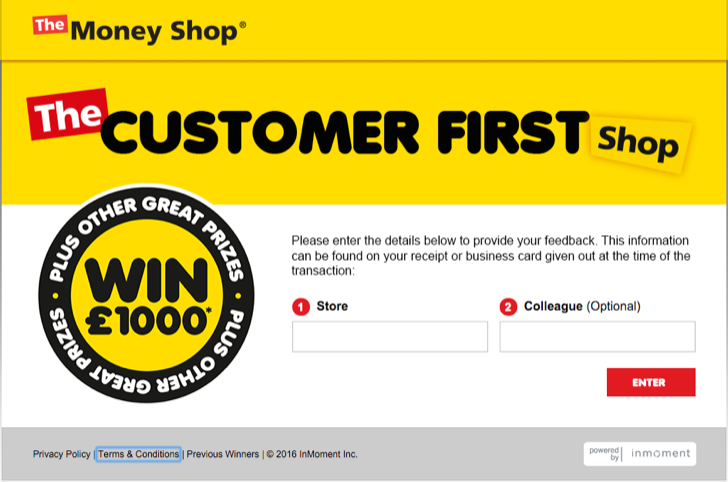 take part in the Money Shop customer satisfaction survey