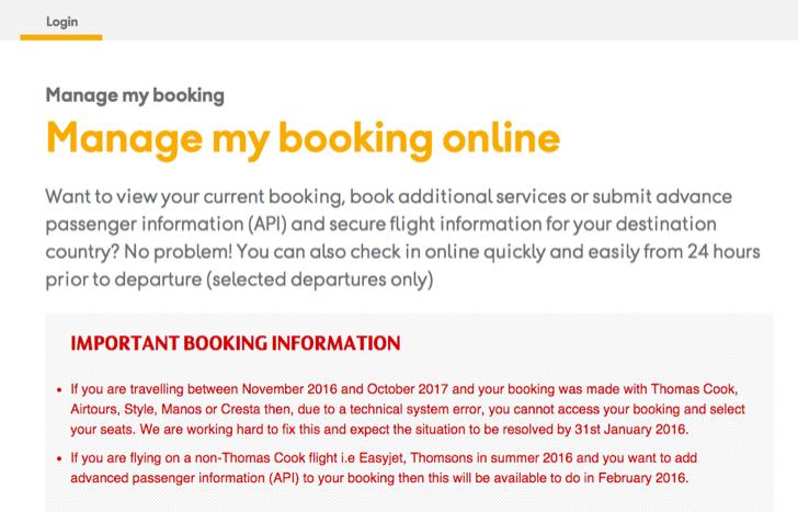 advanced passenger information at thomas cook