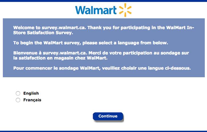 Survey walmart ca
