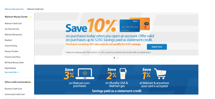 apply for a walmart credit card onlines